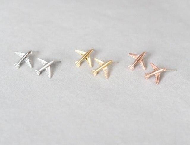1pcs Cute Tiny Plane Silver Gold Aircraft Studs Earring Women Handmade Fashion Airplane Stud Jewelry