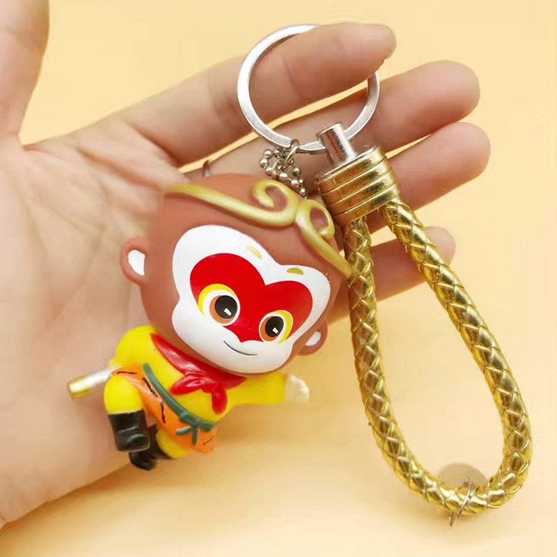 Leather Rope Bell Pom Pom The Monkey King Pompom Cartoon Keychain Monkey Cartoon Key Holder Key Ring Car Bag Pendant Keyring