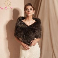 Real Photos Brown Faux Fur Cape Wraps Wedding Jackets Bridal Special Occasion Shawls Bridal Wraps In Stock Bolero Women 2019 New