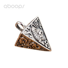 Vintage 925 Sterling Silver Pyramid Shaped Necklace Pendant Engraved Chinese Ancient Four Mythical Creatures for Men Women