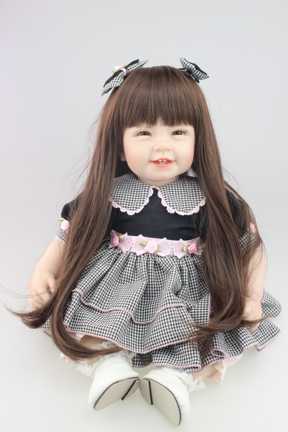 22inch 55cm Reborn Toddler baby doll lifelike sweet girl real gentle touch baby playing toys glued with long wig