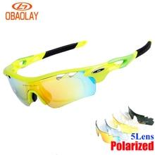 OBAOLAY 5Lens Cycling Polarized Glasses Men Mbt Bike Sunglasses women Eyewear For Bicycle Sport Radar EV Pitch ciclismo occhiali