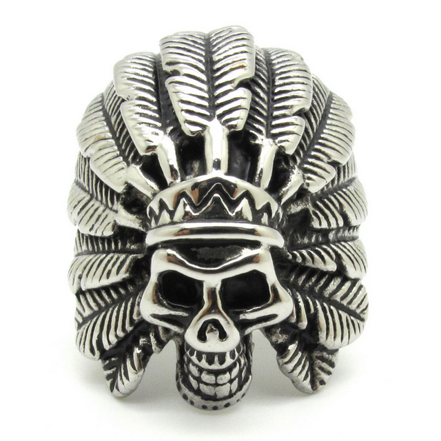 Cool Feather Dayak Indian Headdress Skull 316l Stainless Steel Mens