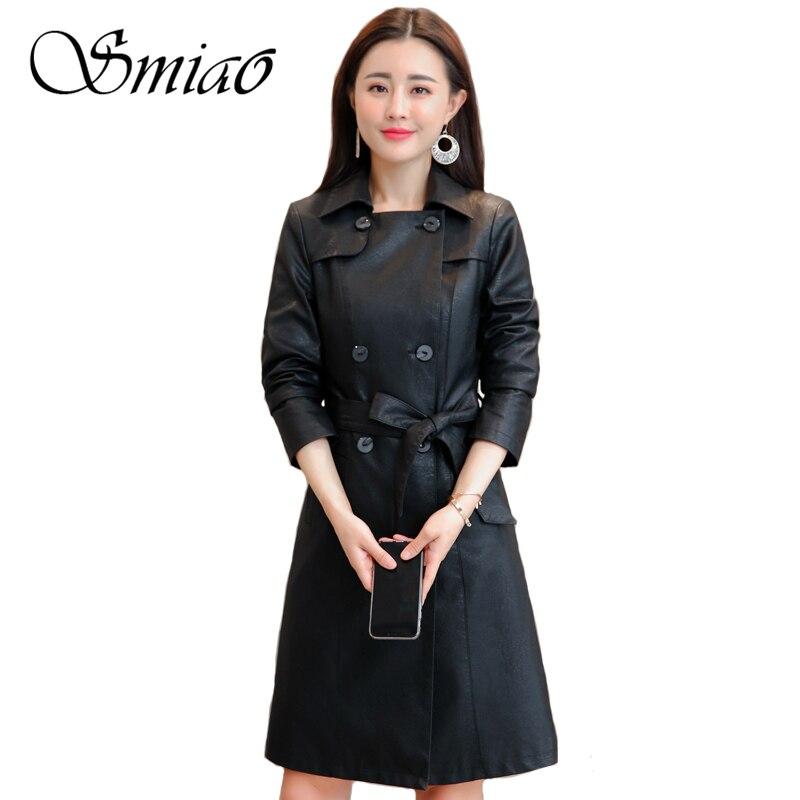 Smiao 2018 Autumn Winter Black Faux   Leather   Jacket Women Plus Size Soft PU   Leather   Coat Female Long Trench Coat Outwear Belt 4XL