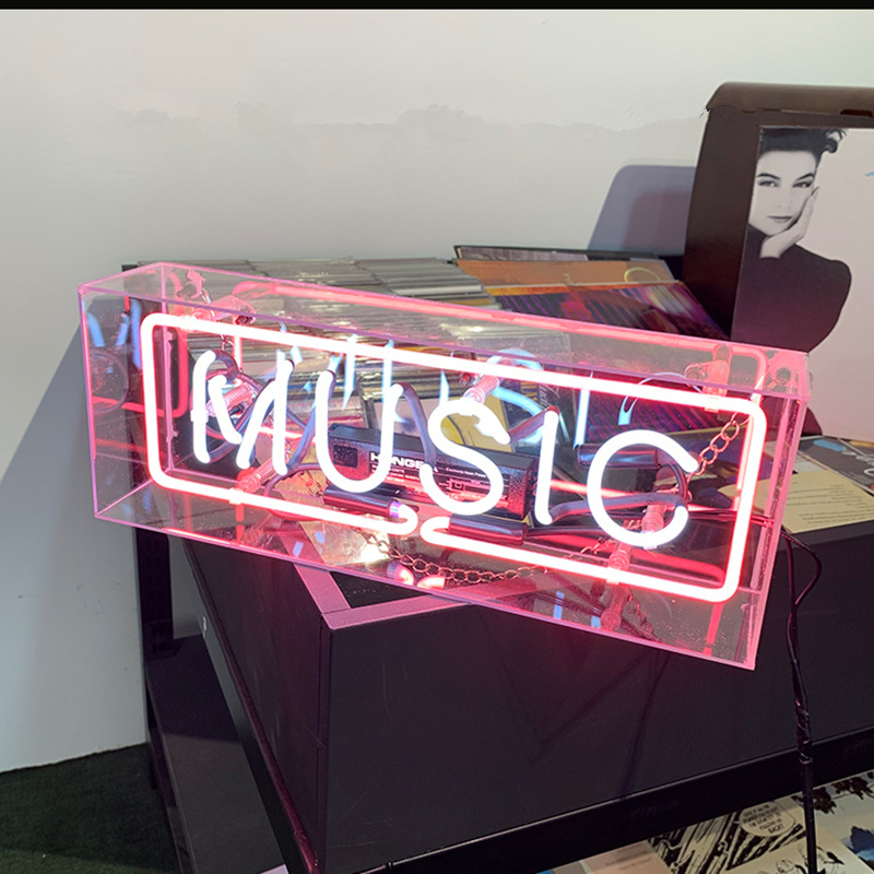 Led Neon Light Acrylic Glass Box Party Wall Hanging Bar Atmosphere Shop Window Decoration Wedding Word Sign Art Photography Prop