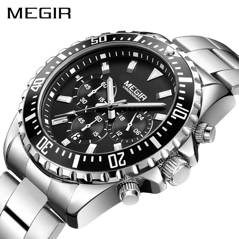 MEGIR Montre Hommes Mode Sport Quartz Horloge Hommes Montres Top Marque De Luxe En Acier Plein D'affaires Montre Étanche Relogio Masculino