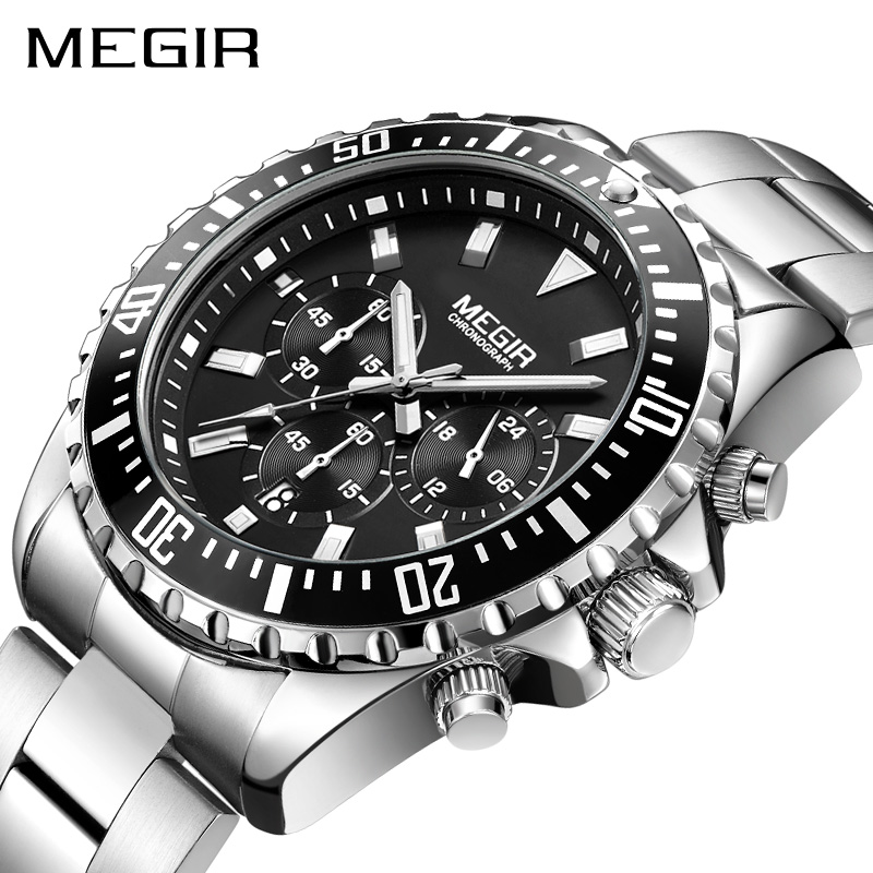 MEGIR Watch Men Fashion Sport Quartz Clock Mens Watches Top Brand Luxury Full Steel Business Waterproof Watch Relogio Masculino xinge top brand luxury leather strap military watches male sport clock business 2017 quartz men fashion wrist watches xg1080