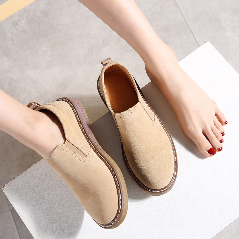 2019 Spring Women Flats Shoes Sneakers Ballerina   Leather     Suede   Slip on Ladies Oxfords Tenis Feminino Creepers Femme Woman 978