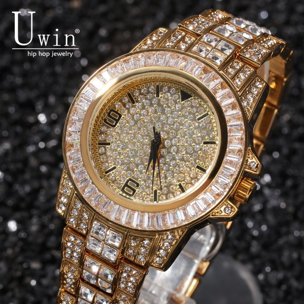 Uwin Full Iced Out Men Watches Stainless Steel Fashion Luxury Rhinestones Quartz Square Wristwatches Business Watch