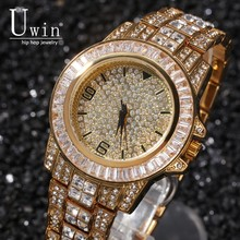 Uwin Full Iced Out Men Watches Stainless Steel Fashion Luxury Rhinestones Quartz Square Wristwatches Business Watch luxury brand switzerland binger tungsten steel men s watch quartz watch beer barrel full steel wristwatches bg 0394 5