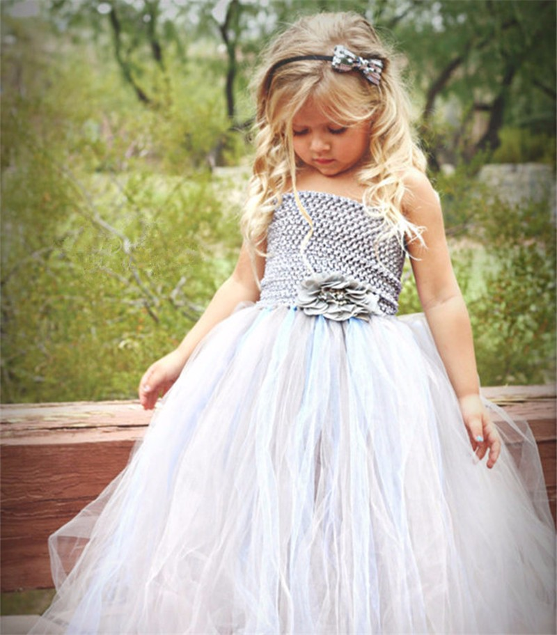 Beautiful Girls Grey Dress Kids Tulle Dress Long Ball Gown with Satin Hairbow Children Wedding Party Costume Baby Princess Dress