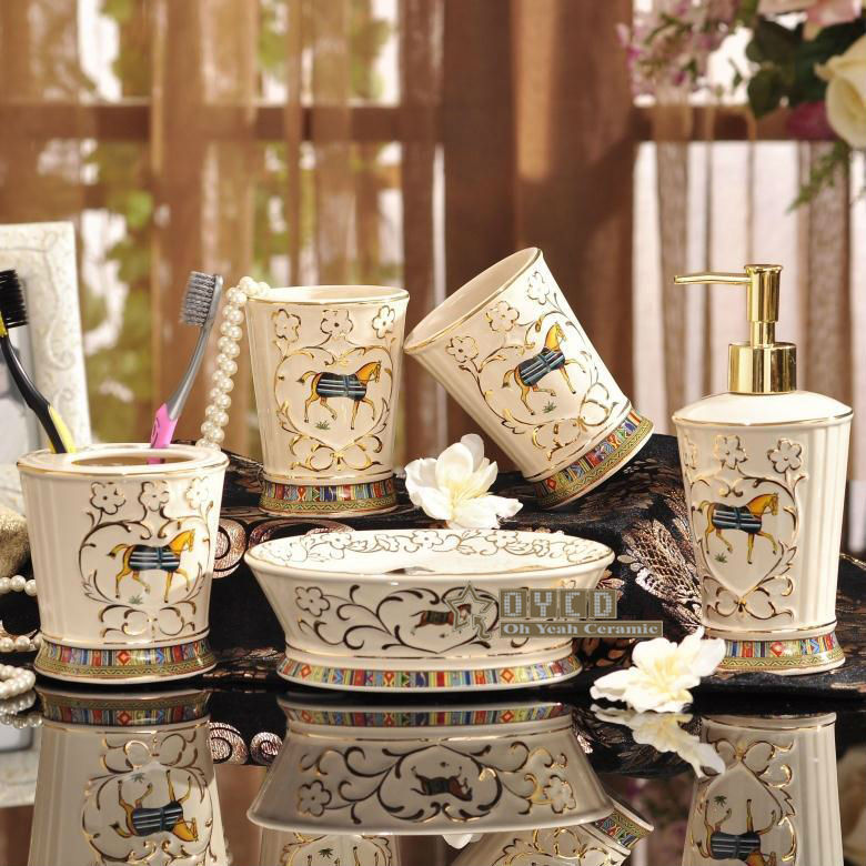 Porcelain Bathroom Sets Ivory Horse Design Embossed Outline In Gold Five Piece Set Accessories Gifts