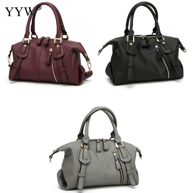 Elegant Women Leather Handbags Fashion Tote Good Quality Clutches Bolsa  Feminina Sac A Main Black Burgundy fcd4a1461be1a