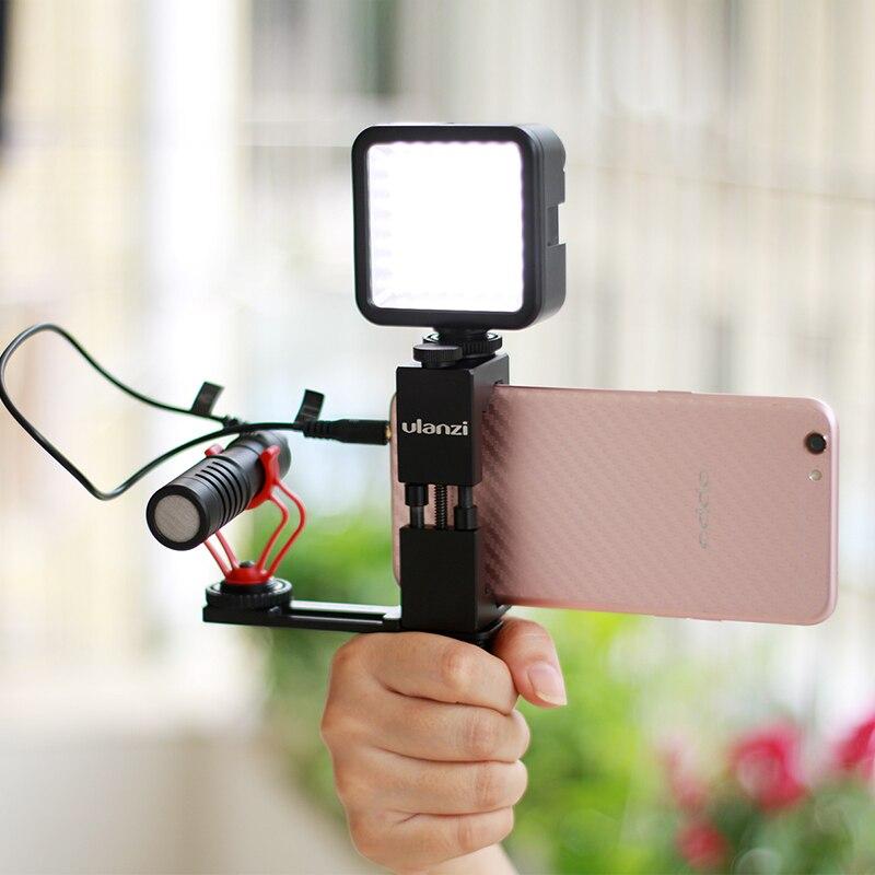 Ulanzi Cold Shoe Mount bracket With Boya BY-M1 Microphone LED light & Iron Man II phone tripod & Hand Grip for smartphone video