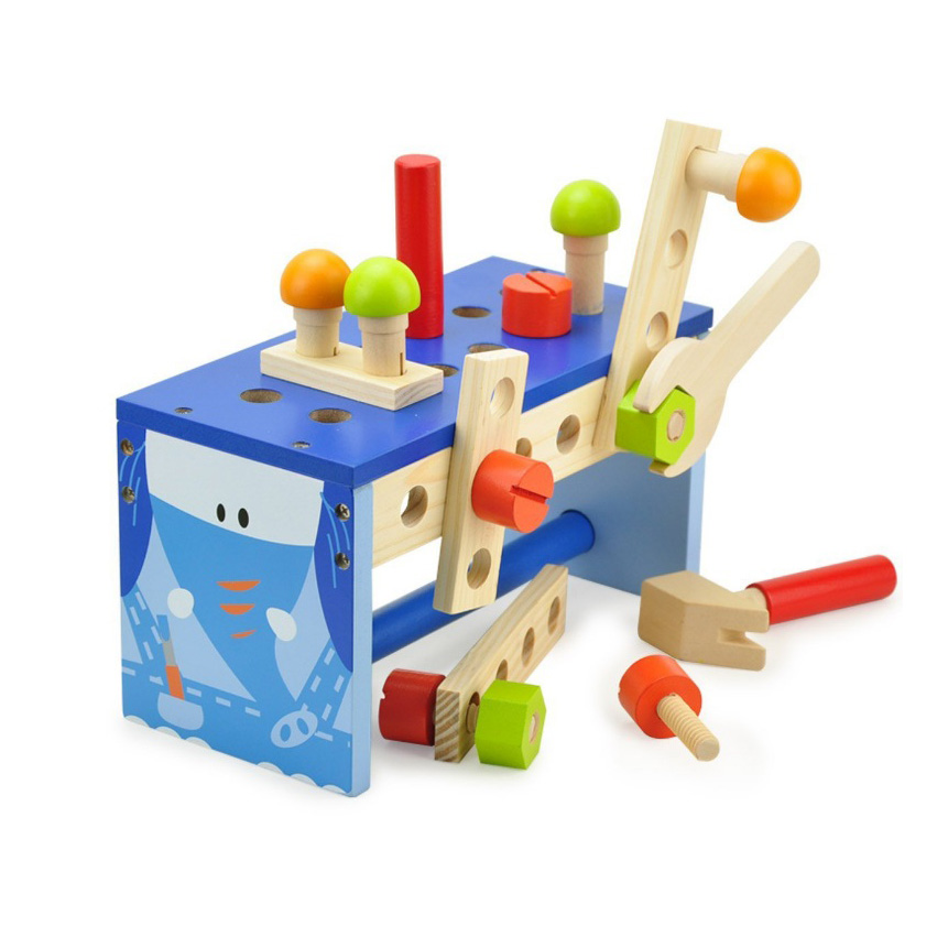 Chanycore Baby Learning Educational Wooden Toys Blocks Screws Nuts Assemblage Geometric Shape Elephant Tool Table tbr Gifts 4217 15 holes intelligence box wood geometric blocks baby learning assemblage toys