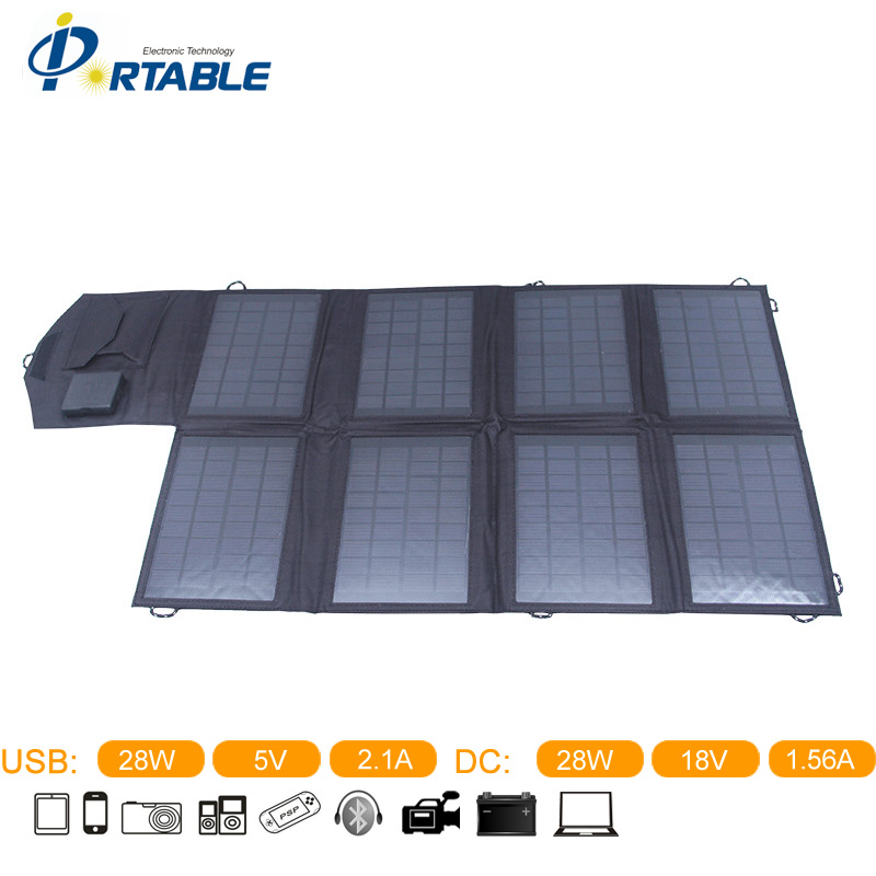 Factory Sell 28W Solar Cell Mobile Charger For iphone/Laptop Solar Panel Battery Charger DC&USB Double Output 5V &18V 14w solar charger dual usb output solar cell solar panel 12v ourdoor camping charger for laptop bluetooth headset ipod and more