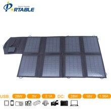 Фабрика Продает 28 Вт Солнечных Батарей Зарядное Устройство Для iphone/Ноутбук Солнечное Зарядное Устройство, DC и USB Двойной выход 5 В & 18 В