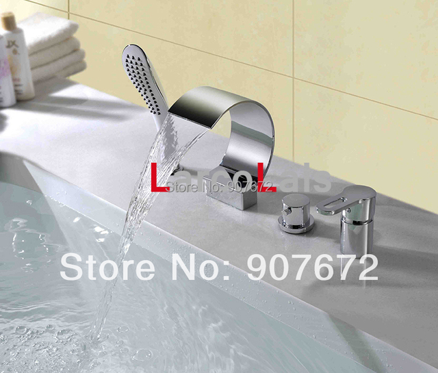 LARCOLAIS Bathtub Roman Tub Faucet with Handshower Widespread Waterfall Mixer Tap Chrome Finish Four Hole