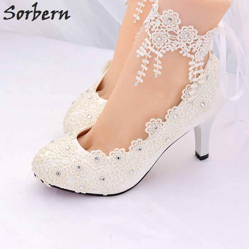 19ebfd069 ... Sorbern белые свадебные туфли лодочки женская обувь комплектующие для  бижутерии из кристала и Кружева реальное изображение ...