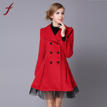 Women Flare Double Breasted Trench Jacket Ladies Long Lapel Outwear Peacoat(China)