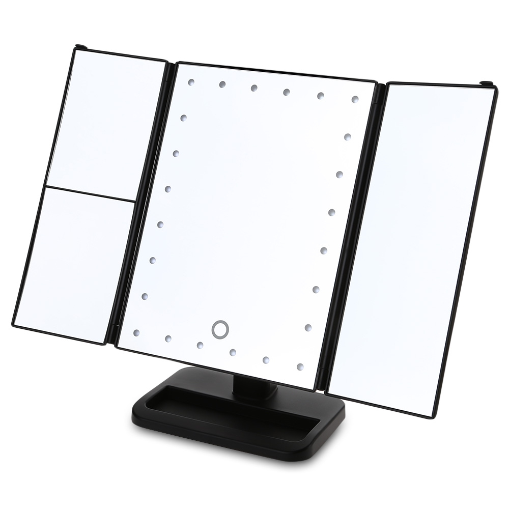 Tri-Fold Adjustable 24 LED Lights Dimmable Mirror 1X/2X/3X Magnifying Make-up Mirror Bathroom Tabletop Mirror for Beauty Makeup