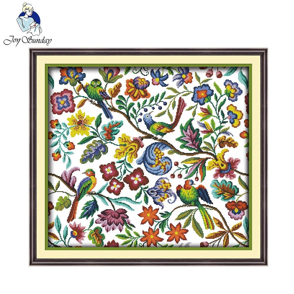 Joy Sunday Craft Art Birds And Fragrance Of Flowers Chinese Cross Stitch Kits For Embroidery Needlepoint Set