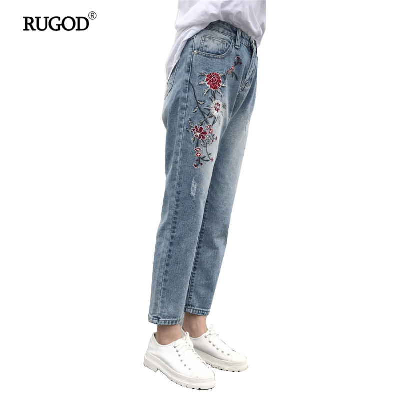 2017 Ripped Jeans For Women High Waist Ankle-Length Pants Loose Straight Embroidery Appliques Pattern Fake Zippers Vintage femme new summer vintage women ripped hole jeans high waist floral embroidery loose fashion ankle length women denim jeans harem pants