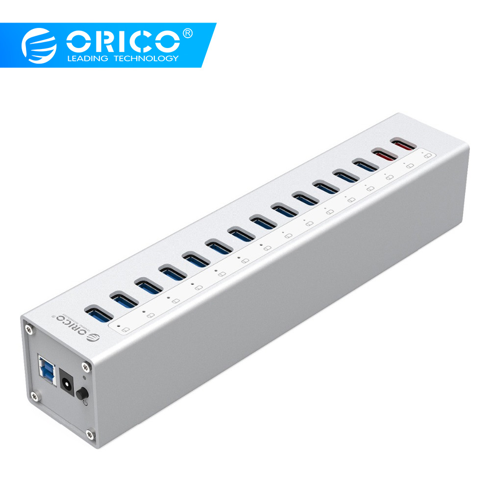 ORICO A3H13P2 aluminium 13 Ports USB3.0 HUB avec 2 Ports de charge 5V2. 4A Super chargeur/5V1A universel-argent