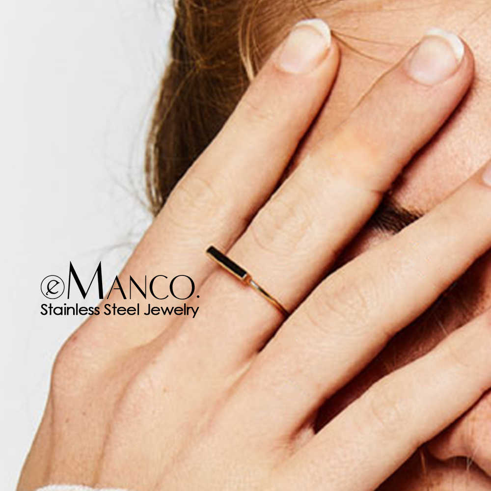 e-Manco Minimaliset Punk Stainless Steel Rings for women Rose Gold Color dainty pinky ring stackable midi rings jewellery