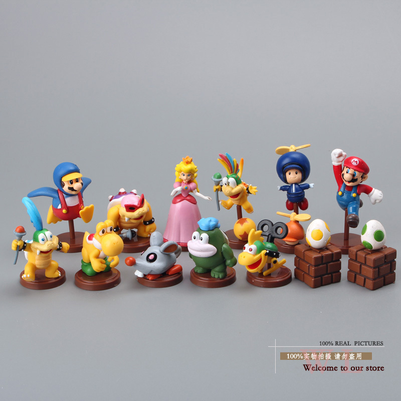 Free Shipping Super Mario Bros Koopalings PVC Action Figure Collection Model Toys Dolls 13pcs/set New in Box Yellow SMFG053