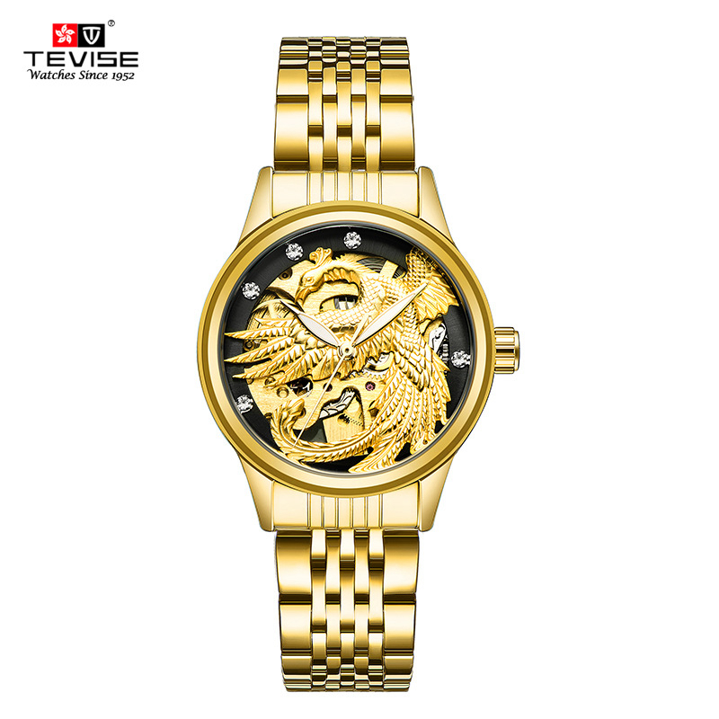 TEVISE Automatic Mechanical Watch for Women Luxury Gold Stainless Steel Strap 13mm Ladies Wrist Watches 3ATM Waterproof Clock tevise luxury brand fashion phoenix women watches luminous clock womens steel gold bracelet automatic mechanical ladies watch