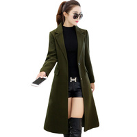 XXXL Plus Size Women Wool Blends Solid Army Green Spring Autumn Long Women Coats Single Breasted Vintage Ladies Overcoats XH605