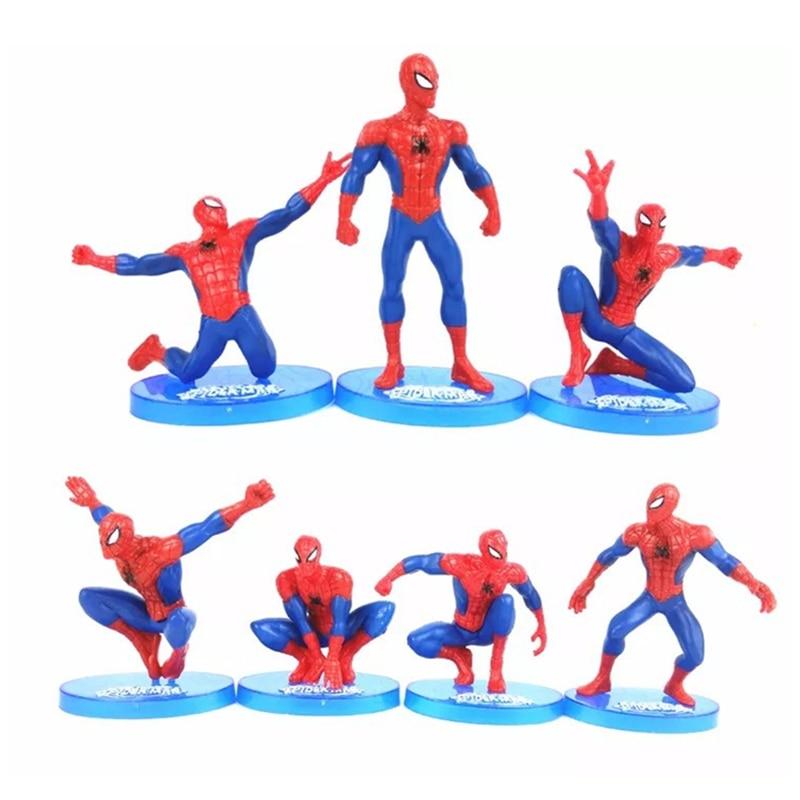 Children Birthday Gift Marvel Avenger Spiderman Model Cake Baking Ornaments Decor Mini Superhero Plastic Action Figure