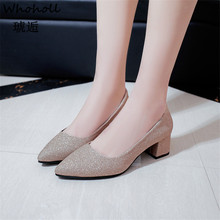 Whoholl Fashion Pattern Women Pumps New Spring Ladies Platform Shoes Round Toe Square Heels Women Shoes Slip on Sapato Feminino стоимость