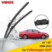 YIKA Wiper Blades For Volkswagen Golf Mk5 Mk6 24 19 Fit Push Button Arms 2006 2007