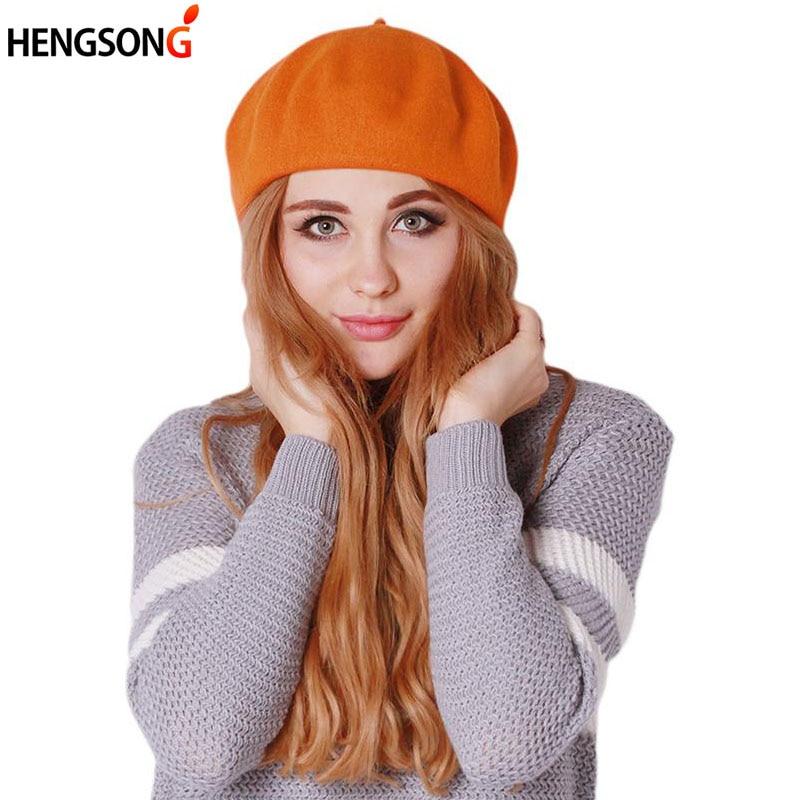 2018 Autumn&Winter Women Soft Warm Classic Beret Boina Feminina Felt French Artist Beanies Tam Baggy Hats Ski Caps