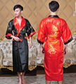Free Shipping!Chinese Women's Reversible Two-face Silk Satin Robe Embroidery Dragon Kimono Bath Gown Dragon WR005