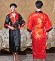 Frete Grátis! Reversível Two-face de Cetim De Seda das Mulheres Chinesas Robe Bordado Dragão Kimono Bath Vestido Dragão WR005