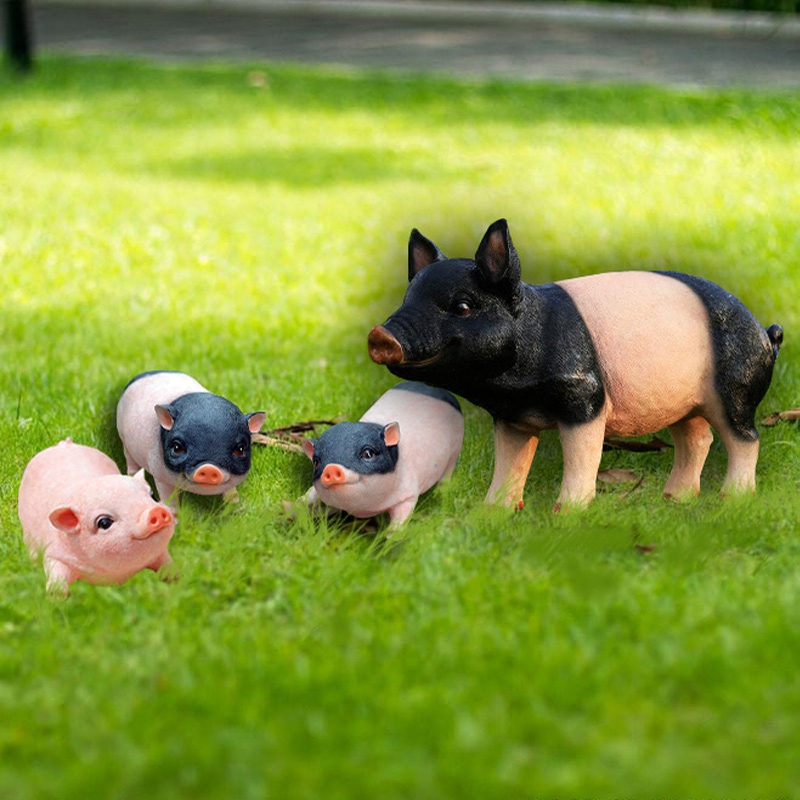 Creative lovable pigs Resin Arts and Crafts fairy Garden Decoration miniatures Cute mini Pig Figurines Animal home decoration in Figurines Miniatures from Home Garden
