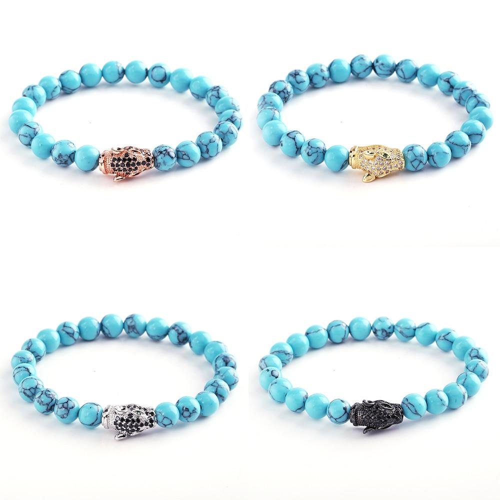 Diy Natural Stone Beads Handmade Bracelets Boys Girls Couple Bracelets Rhinestone Rabbit Head Bracelet Women Men Christmas Gift