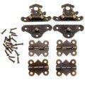 2 Pcs de Bronze Antigo Caixa de Jóias De Madeira Caso Alternar Trava Ferrolho + 4 Pcs Dobradiças Do Armário Acessórios Para Móveis de Ferro Do Vintage Hardware