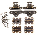 2Pcs Antique Bronze Jewelry Wooden Box Case Toggle Hasp Latch +4Pcs Cabinet Hinges Furniture Accessories Iron Vintage Hardware