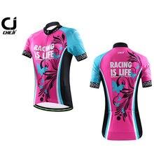 CHEJI Women's Cycling Jersey Mountain Bike Clothing Bicycle Shirts Biking Jersey Pink