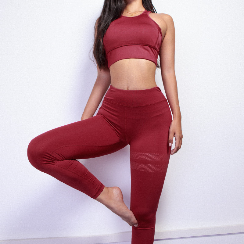 Women Yoga Sets Gym Wear Running Clothes Tracksuit Woman Sportswear Fitness Set Sport Suit Workout Tank Top Pants Leggings ZF227 in Yoga Sets from Sports Entertainment