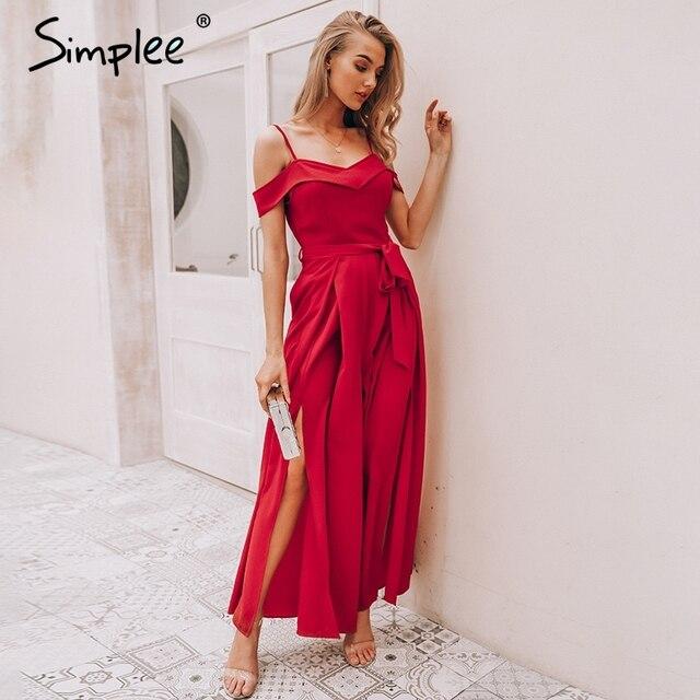 Женский красный комбинезон Simplee, длинный мягкий комбинезон с высокой талией, открытыми плечами и завязкой в форме бабочки, широкий комбинезон на бретельках с разрезом и бантом