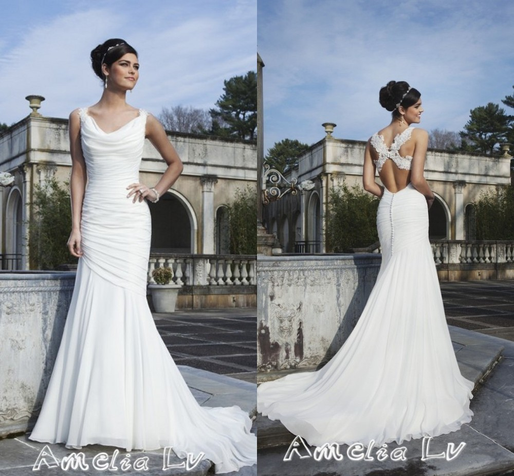 Al0239 Elegant Mermaid Trumpet Cowl Neck Pleated Court Train Criss Cross Liques Back Chiffon Wedding Dresses Bridal Gowns In From