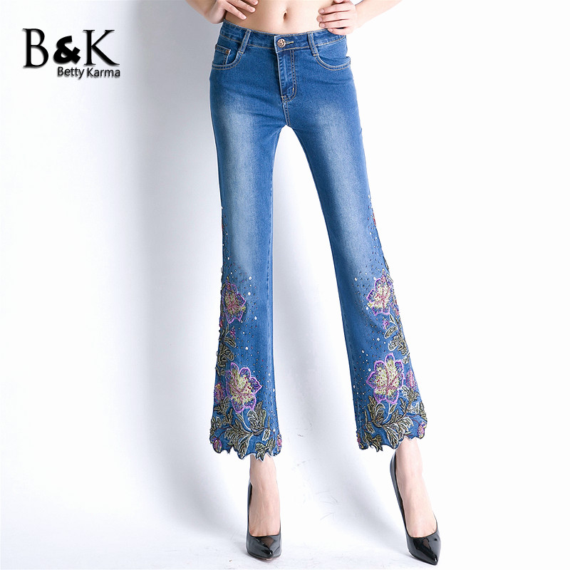 High Waist Flower Embroidered Jeans For Women Stretch Plus Size Skinny Denim Woman Elastic Oversized Flare Pants Jeans Trousers new embroidered flower skinny stretch high waist jeans without ripped woman floral denim pants trousers for women jeans j18 z35