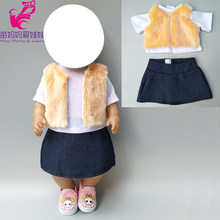 Doll clothes for 17 inch Born Baby Dolls clothes jeans skirt wool vest 18 inch girls doll winter outfits clothes jeans dress(China)