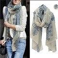 Шифоновый шарф женщины синий и белый Slik шарф женский дизайнерский бренд дамы шарфы 2016 платок фуляр роковой шарфы весна лето