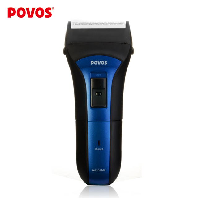 POVOS Blue and Black  Wet/Dry Full Washable Rechargeable Men's Electric Reciprocating Razor Shavers  Pop-up Trimmer   PS2208